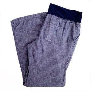 Gap chambray linen maternity pants roll waist M